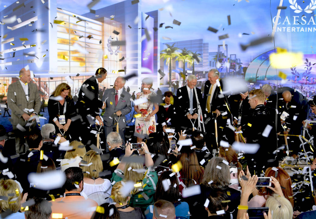 Caesars Entertainment Executives and dignitaries at the groundbreaking of CAESARS FORUM a $375 million, 550,000 square-foot conference center debuting in 2020. Monday, July 16, 2018. CREDIT: Glenn ...