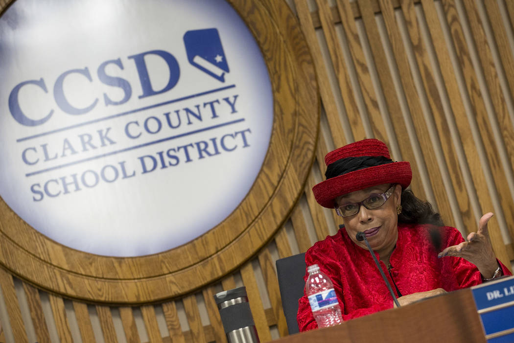 Clark County School District trustee Dr. Linda E. Young speaks during a CCSD Board of Trustees meeting at CCSD's education center in Las Vegas on Wednesday, May 2, 2018. Richard Brian Las Vegas Re ...