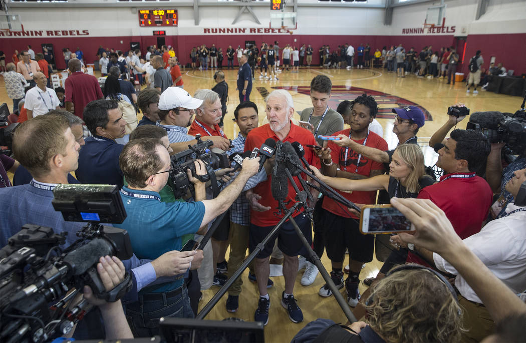 Head coach Gregg Popovich answers questions from the media during Team USA basketball's minicamp on Thursday, July 26, 2018, at the Mendenhall Center, in Las Vegas. Benjamin Hager Las Vegas Review ...