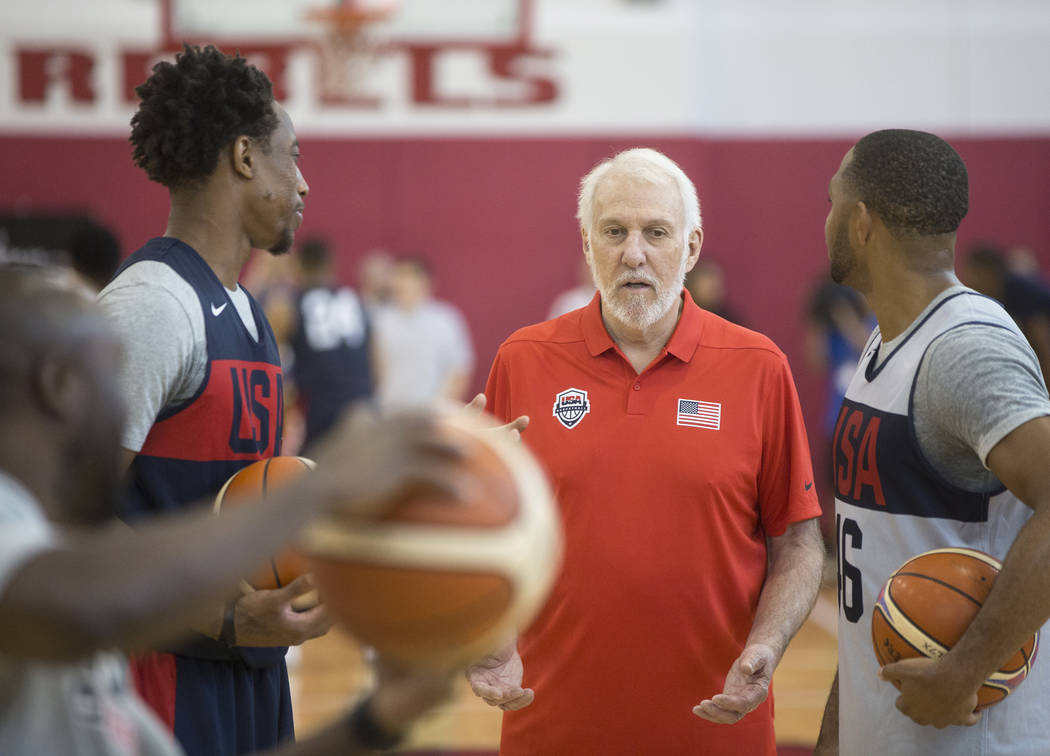Head coach Gregg Popovich, middle, gives direction to his players during Team USA basketball's minicamp on Thursday, July 26, 2018, at the Mendenhall Center, in Las Vegas. Benjamin Hager Las Vegas ...