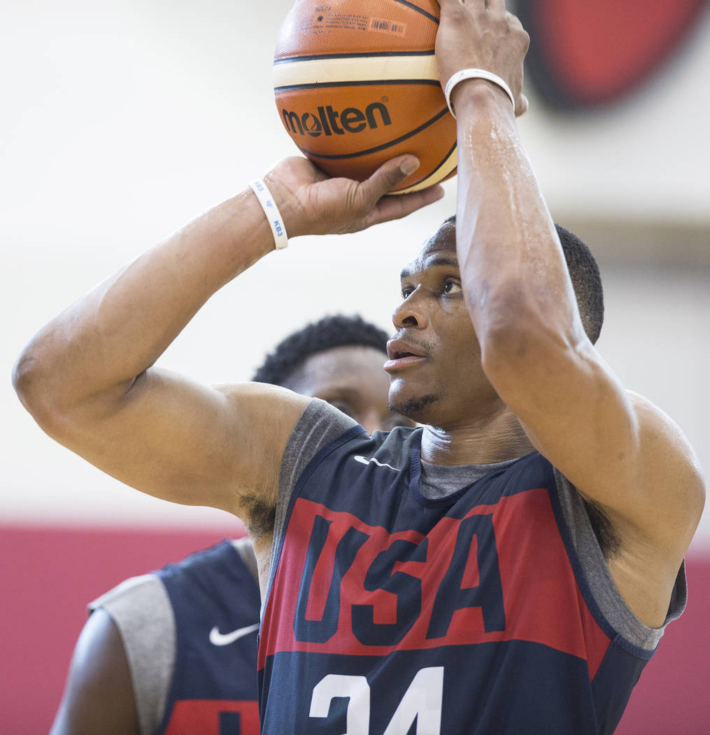 Oklahoma City Thunder guard Russell Westbrook (24) works on his jump shot during Team USA basketball's minicamp on Thursday, July 26, 2018, at the Mendenhall Center, in Las Vegas. Benjamin Hager L ...