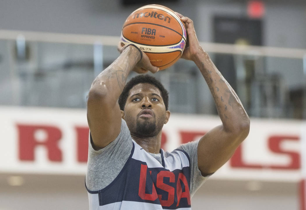 Oklahoma City Thunder forward Paul George (39) works on his jump shot during Team USA basketball's minicamp on Thursday, July 26, 2018, at the Mendenhall Center, in Las Vegas. Benjamin Hager Las V ...