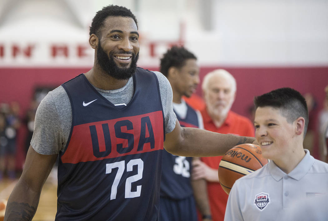 Detroit Pistons center Andre Drummond (72) jokes around with a ball boy during Team USA basketball's minicamp on Thursday, July 26, 2018, at the Mendenhall Center, in Las Vegas. Benjamin Hager Las ...