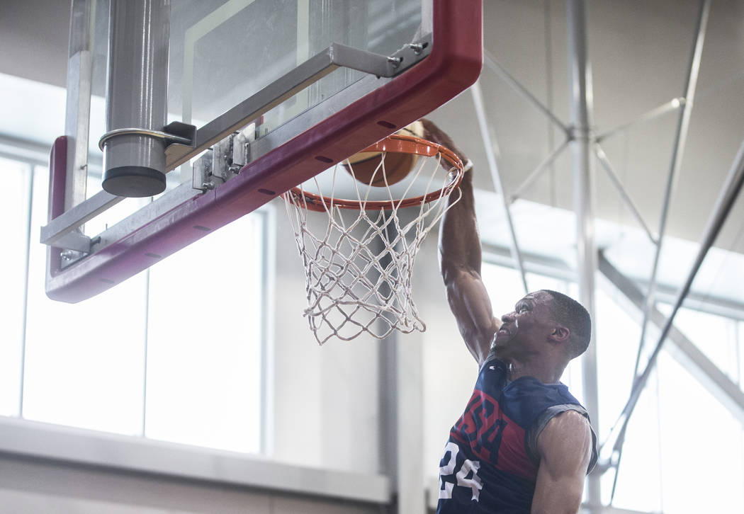 Oklahoma City Thunder guard Russell Westbrook (24) dunks during Team USA basketball's minicamp on Thursday, July 26, 2018, at the Mendenhall Center, in Las Vegas. Benjamin Hager Las Vegas Review-J ...