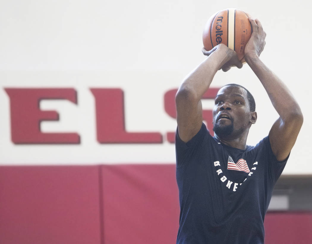 Golden State Warriors guard Kevin Durant (52) shoots a jump shot during Team USA basketball's minicamp on Thursday, July 26, 2018, at the Mendenhall Center, in Las Vegas. Benjamin Hager Las Vegas ...