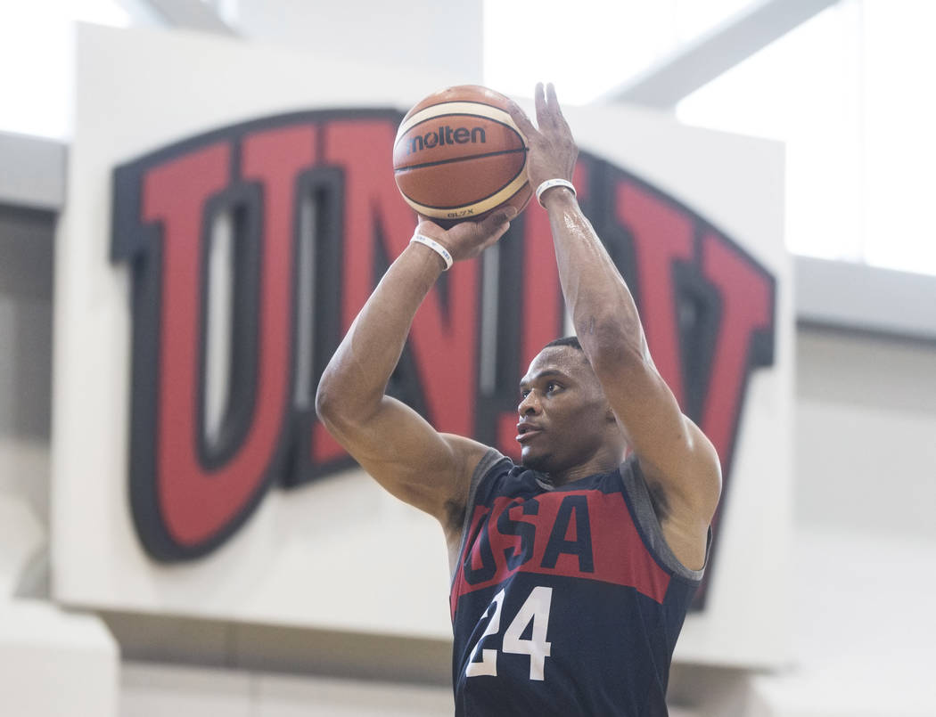 Oklahoma City Thunder guard Russell Westbrook (24) shoots a jump shot during Team USA basketball's minicamp on Thursday, July 26, 2018, at the Mendenhall Center, in Las Vegas. Benjamin Hager Las V ...
