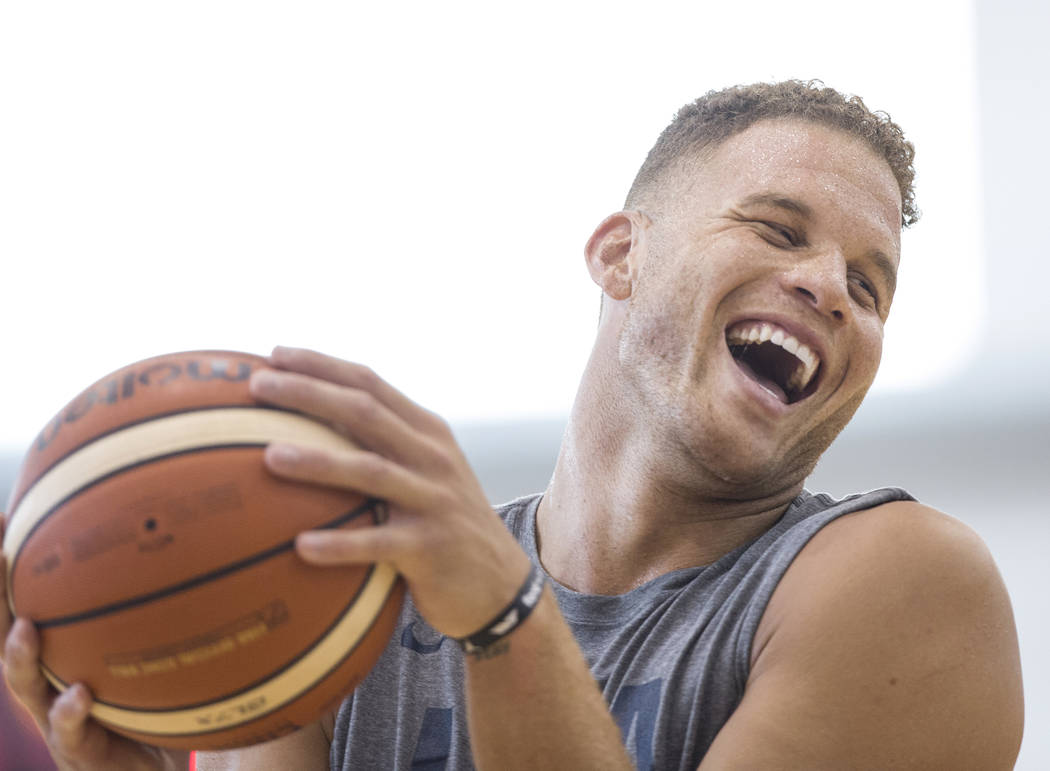 Los Angeles Clippers forward Blake Griffin (40) shares a laugh with teammates during Team USA basketball's minicamp on Thursday, July 26, 2018, at the Mendenhall Center, in Las Vegas. Benjamin Hag ...