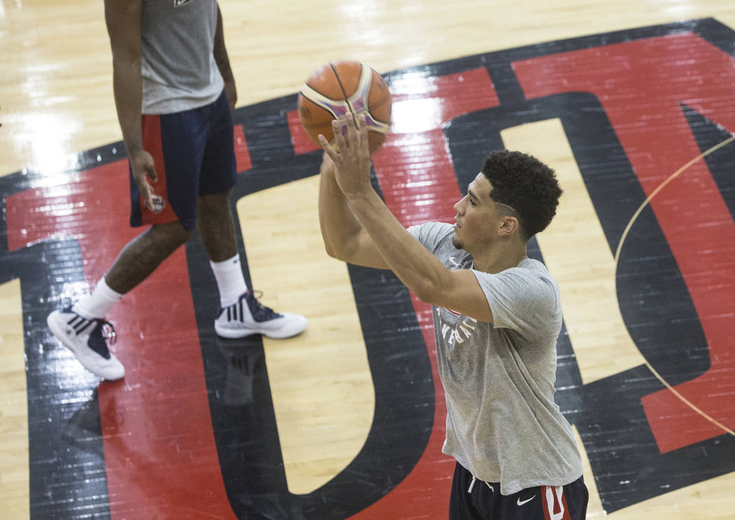 Phoenix Suns guard Devin Booker (31) practices three point shots during Team USA basketball's minicamp on Thursday, July 26, 2018, at the Mendenhall Center, in Las Vegas. Benjamin Hager Las Vegas ...
