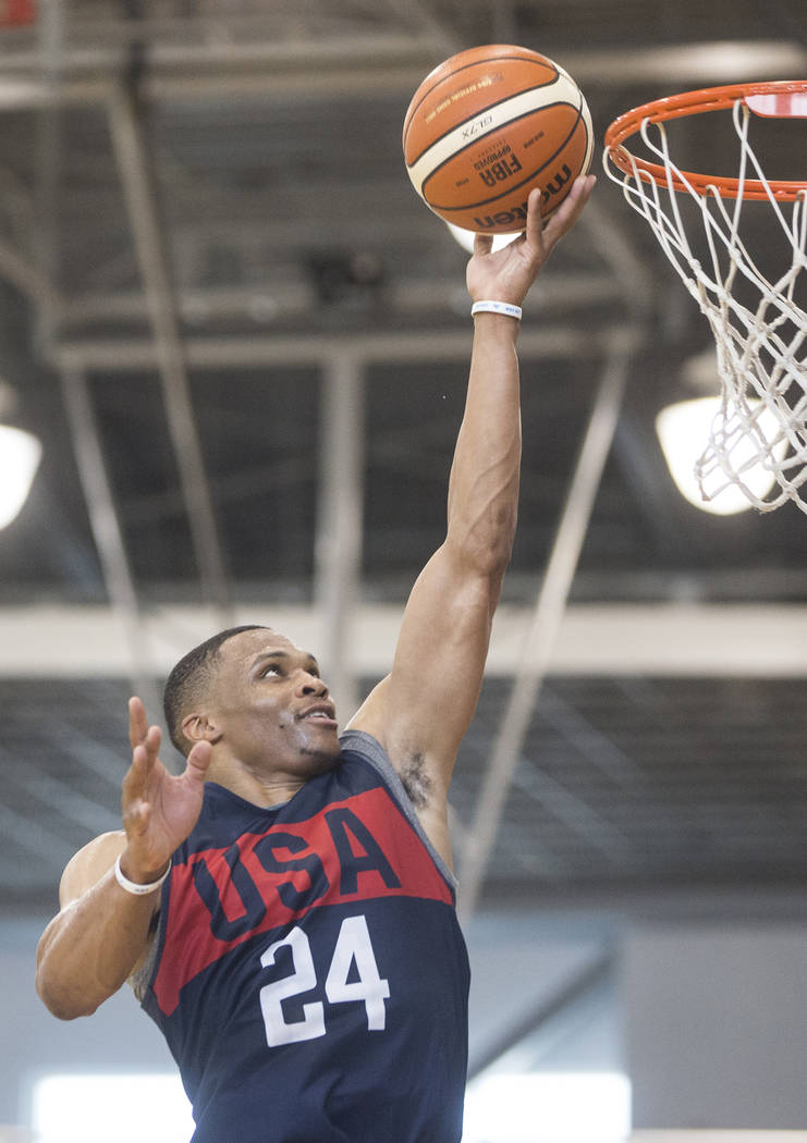 Oklahoma City Thunder guard Russell Westbrook (24) drives to the basket during Team USA basketball's minicamp on Thursday, July 26, 2018, at the Mendenhall Center, in Las Vegas. Benjamin Hager Las ...