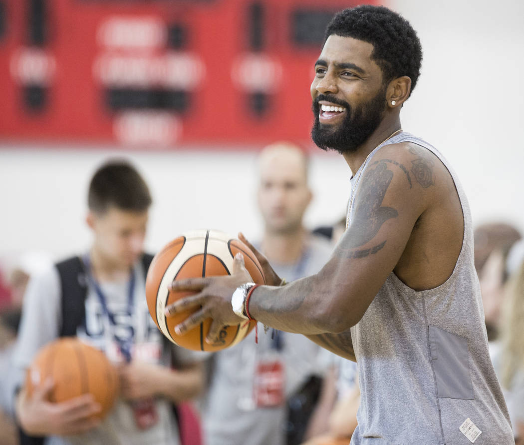 Boston Celtics guard Kyrie Irving (37) runs a drill during Team USA basketball's minicamp on Friday, July 27, 2018, at the Mendenhall Center, in Las Vegas. Benjamin Hager Las Vegas Review-Journal ...