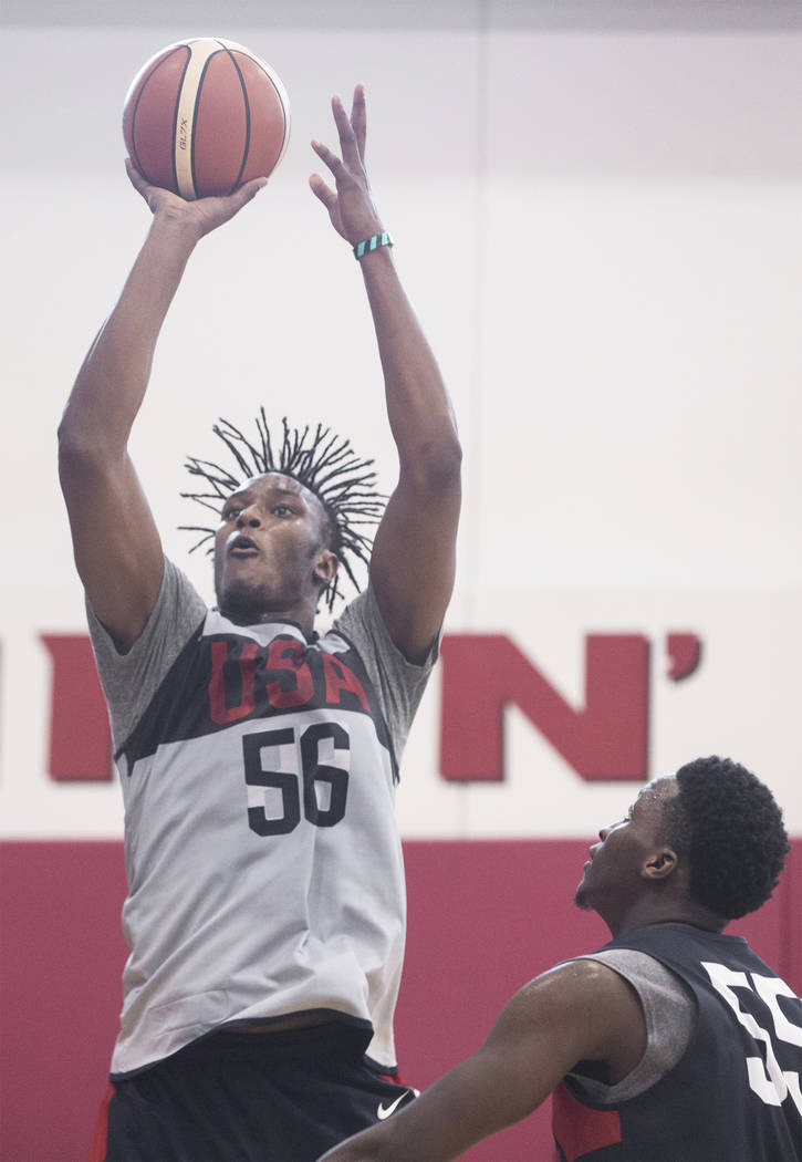Indiana Pacers center Miles Turner (56) shoots over fellow Pacer teammate Victor Oladipo (55) during Team USA basketball's minicamp on Friday, July 27, 2018, at the Mendenhall Center, in Las Vegas ...