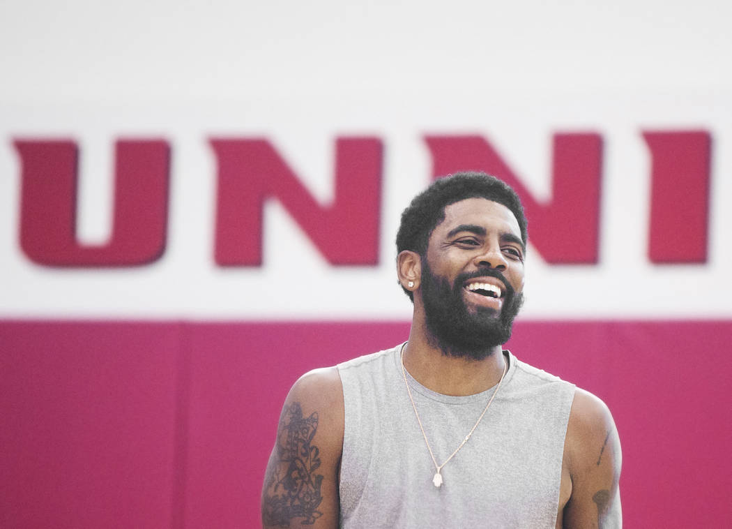 Boston Celtics guard Kyrie Irving (37) shares a laugh with teammates during Team USA basketball's minicamp on Friday, July 27, 2018, at the Mendenhall Center, in Las Vegas. Benjamin Hager Las Vega ...