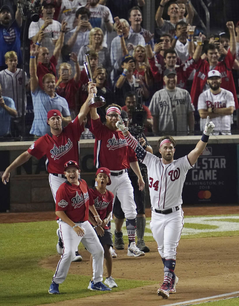 Washington Nationals Bryce Harper reacts to his last home run to win the the Major League Baseball Home Run Derby, Monday, July 16, 2018 in Washington. The 89th MLB baseball All-Star Game will be ...