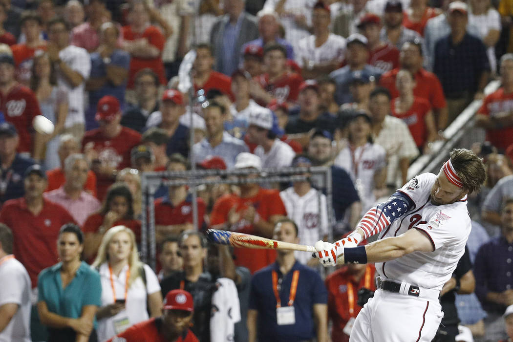 Washington Nationals Bryce Harper hits during the MLB Home Run Derby, at Nationals Park, Monday, July 16, 2018 in Washington. The 89th MLB baseball All-Star Game will be played Tuesday. (AP Photo/ ...