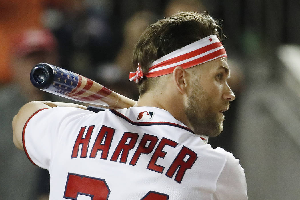 Washington Nationals Bryce Harper (34) waits for his pitch during the MLB Home Run Derby, at Nationals Park, Monday, July 16, 2018 in Washington. The 89th MLB baseball All-Star Game will be played ...