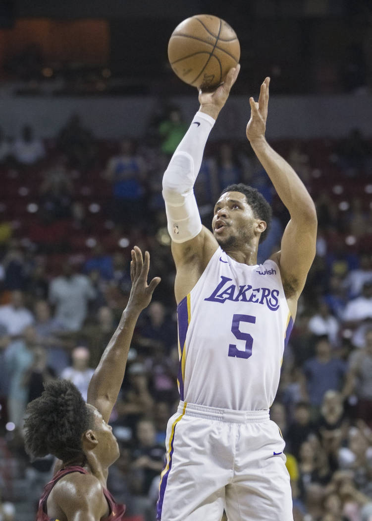 Los Angeles Lakers guard Josh Hart (5) shoots over Cleveland Cavaliers guard Collin Sexton (2) in the fourth quarter during the NBA Summer League semifinals on Monday, July 16, 2018, at the Thomas ...