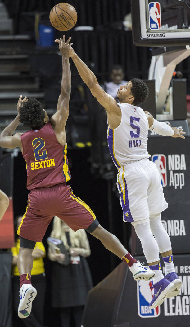 Los Angeles Lakers guard Josh Hart (5) defends Cleveland Cavaliers guard Collin Sexton (2) in the first quarter during the NBA Summer League semifinals on Monday, July 16, 2018, at the Thomas &amp ...