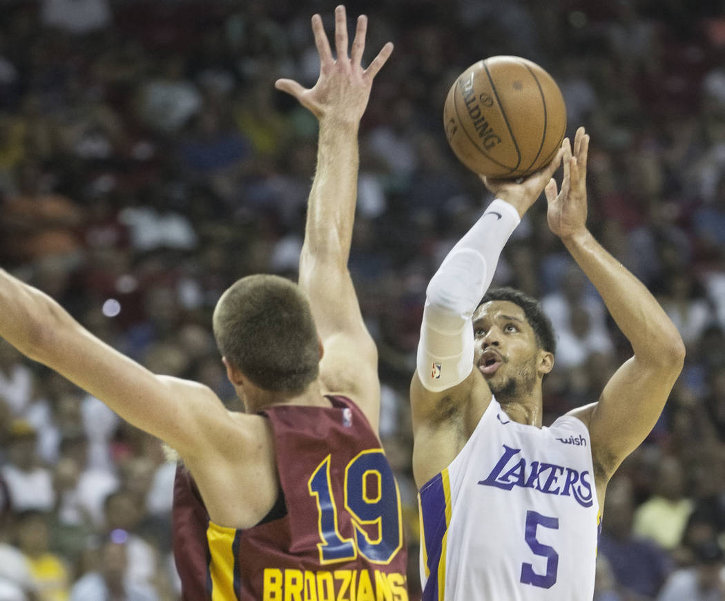 Los Angeles Lakers guard Josh Hart (5) shoots over Cleveland Cavaliers forward Vladimir Brodziansky (19) in the third quarter during the NBA Summer League semifinals on Monday, July 16, 2018, at t ...