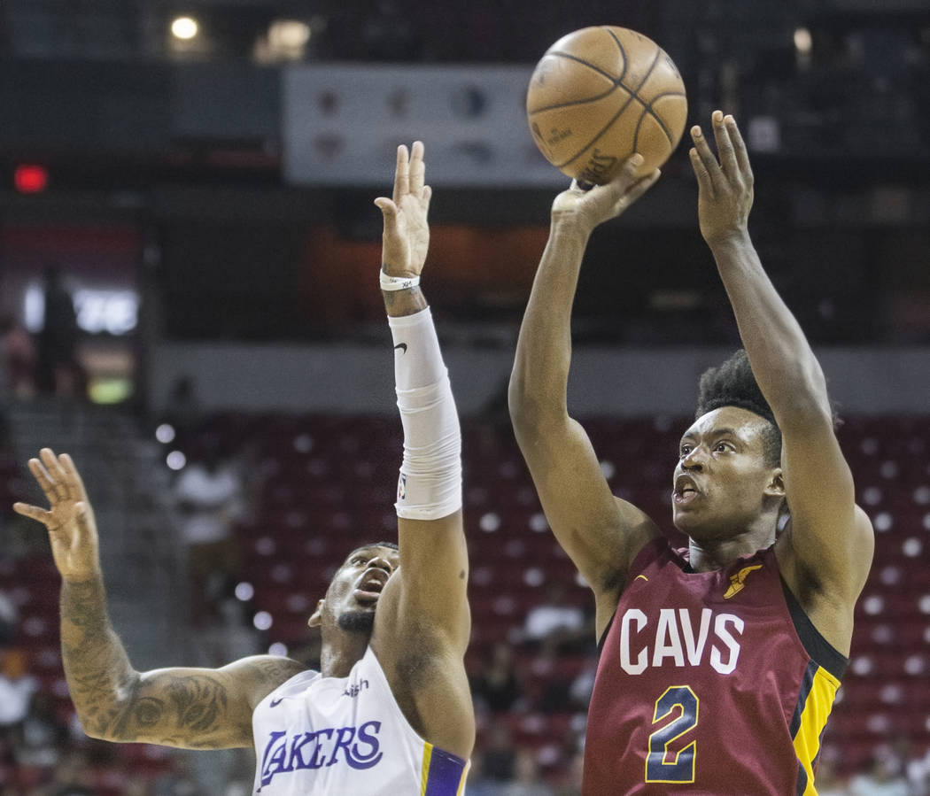 Cleveland Cavaliers guard Collin Sexton (2) shoots over Los Angeles Lakers guard Xavier Rathan-Mayes (6) in the first quarter during the NBA Summer League semifinals on Monday, July 16, 2018, at t ...