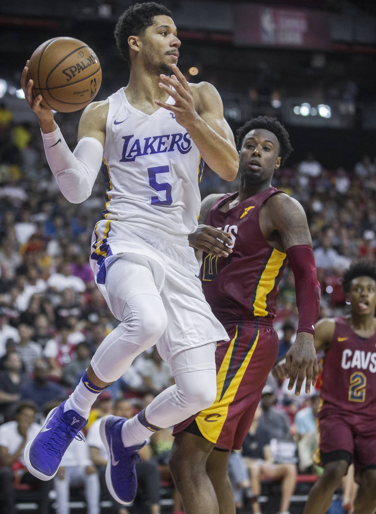 e7c929c81 Los Angeles Lakers guard Josh Hart (5) drives baseline past Cleveland  Cavaliers forward Jamel