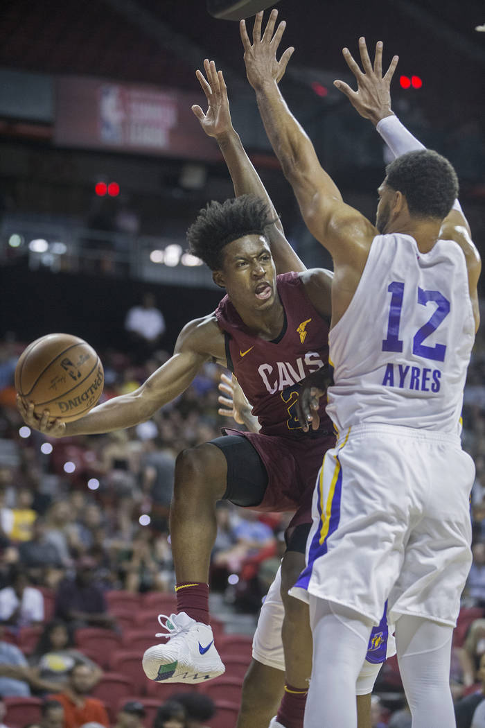 Cleveland Cavaliers guard Collin Sexton (2) drives baseline past Los Angeles Lakers forward Jeff Ayres (12) in the second quarter during the NBA Summer League semifinals on Monday, July 16, 2018, ...