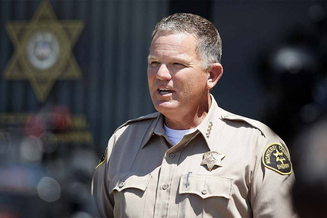 Monterey County Sheriff Steve Bernal conducts a press conference in Salinas, Calif., on Monday, July 16, 2018 answering questions on the rescue of Angela Hernandez in Big Sur. Hernandez was rescue ...