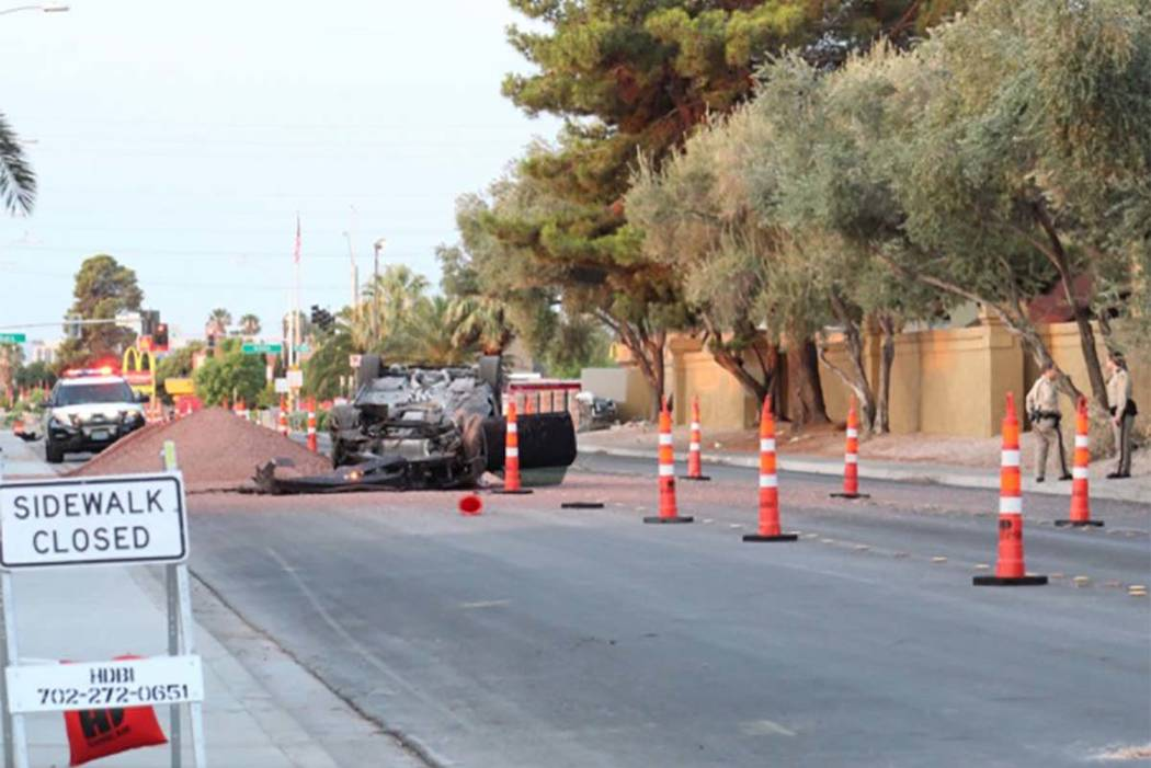 A crash was reported about 5:30 a.m. on Arville Street just north of Sahara Avenue on Tuesday, July 17, 2018. (Max Michor/Las Vegas Review-Journal)