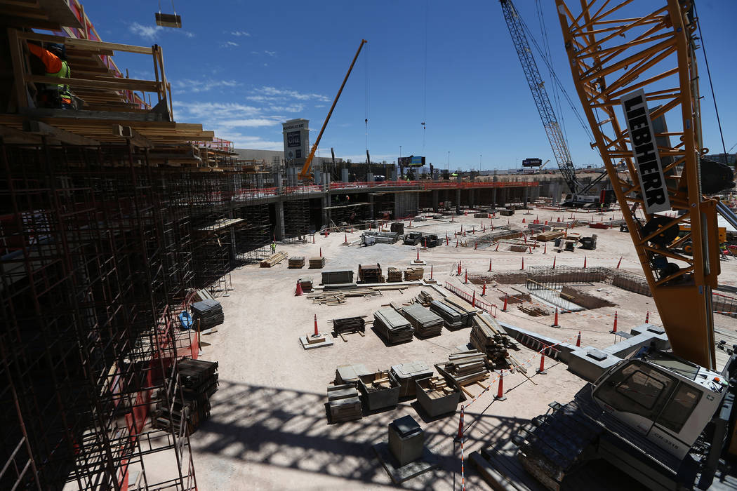 The construction site for the future Raiders stadium in Las Vegas, Thursday, June 28, 2018. (Erik Verduzco/Las Vegas Review-Journal) @Erik_Verduzco