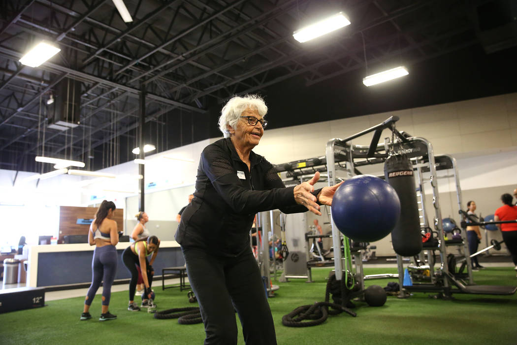 Fitness coach Olga Connolly, left, 85, at the EoS Fitness gym, 7070 S Durango Drive, in Las Vegas, Wednesday, July 18, 2018. Connolly is a former Olympian who won a gold medal in 1956. Erik Verduz ...