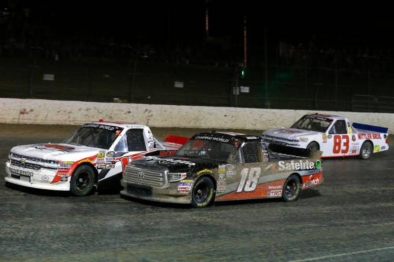 Las Vegan Noah Gragson (18) rallied from last place to finish sixth in Wednesday night's NASCAR Truck Series race at the Eldora (Ohio) Speedway half-mile dirt oval. (Courtesy Kyle Busch Motorsports)