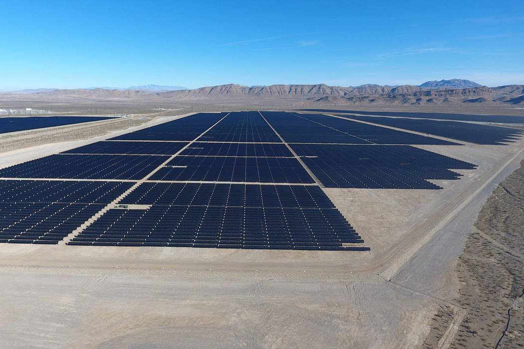 Solar arrays line the desert floor of the Dry Lake Solar Energy Zone as part of the 179 megawatt (MW) Switch Station 1 and Switch Station 2 Solar Projects north of Las Vegas that were commissioned ...