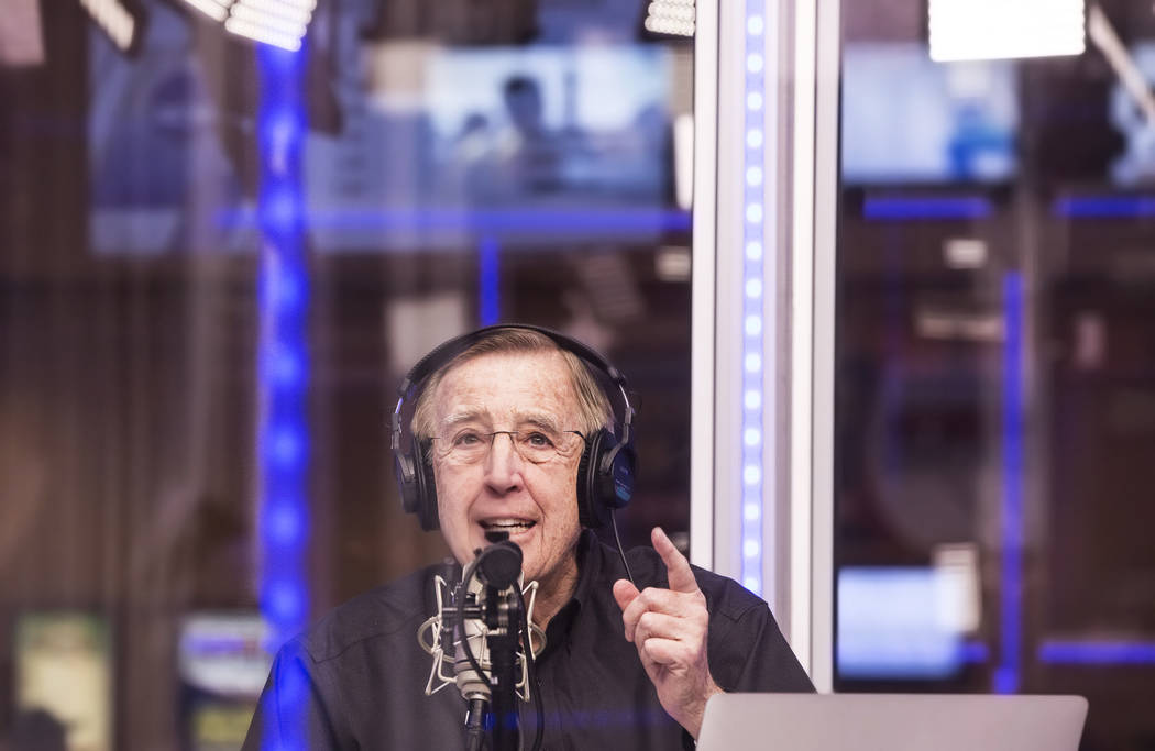 Brent Musburger announces opening round game lines during a live broadcast covering the NCCA Tournament on the Vegas Stats & Information Network on Sunday, March 12, 2017, at South Point hotel ...