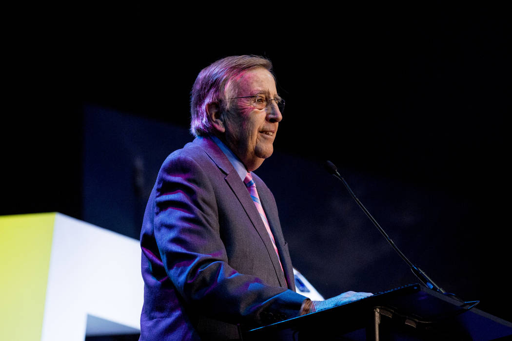 Brent Musburger, a renown sportscaster, expresses his gratefulness for becoming enshrined in the Las Vegas Bowl Hall of Fame at the 25th Las Vegas Bowl Luncheon for the Houston Cougars and San Die ...