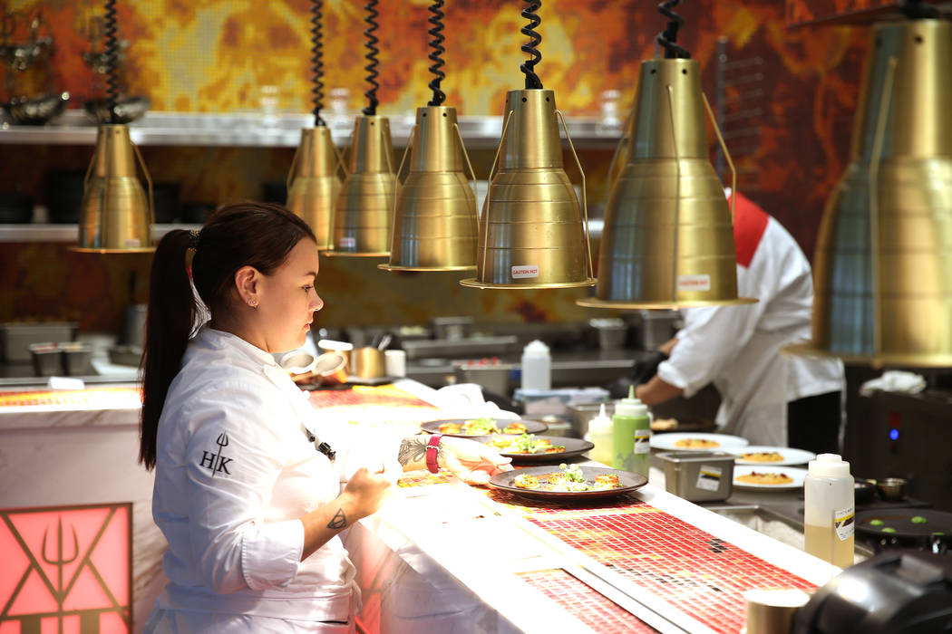 Chef Michelle Tribble prepares food before serving at Gordon Ramsay Hell's Kitchen in Las Vegas, Tuesday, July 17, 2018. Erik Verduzco Las Vegas Review-Journal @Erik_Verduzco