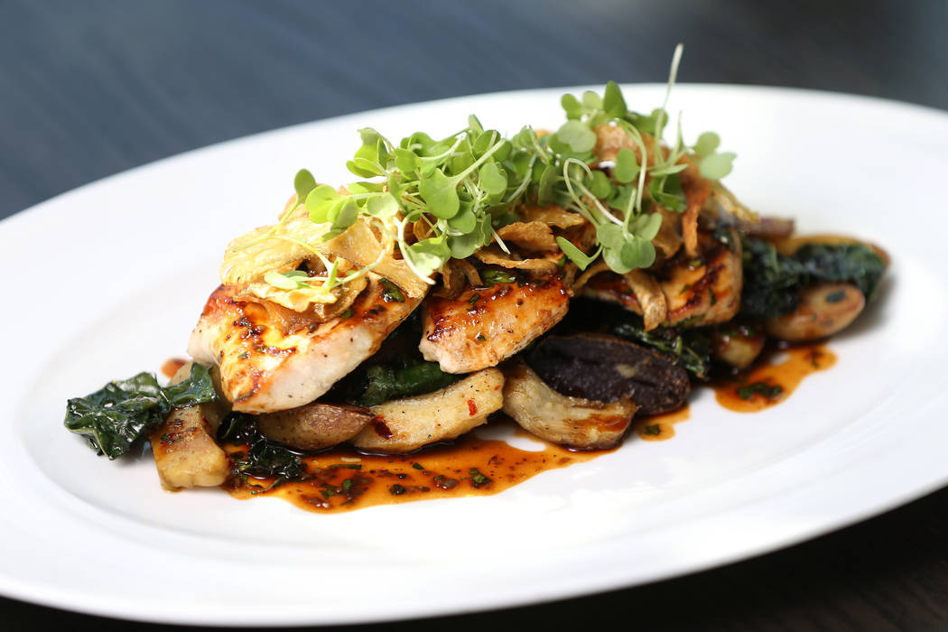The jidori chicken scallopini served with roasted pee wee potatoes, artichokes, laminate kale and truffle chicken jus, at Gordon Ramsay Hell's Kitchen in Las Vegas, Tuesday, July 17, 2018. Erik Ve ...