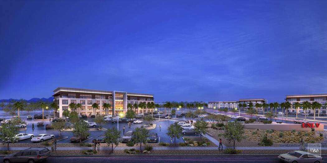 Rendering of the Harry Reid Research and Technology Park at UNLV. Courtesy of UNLV.