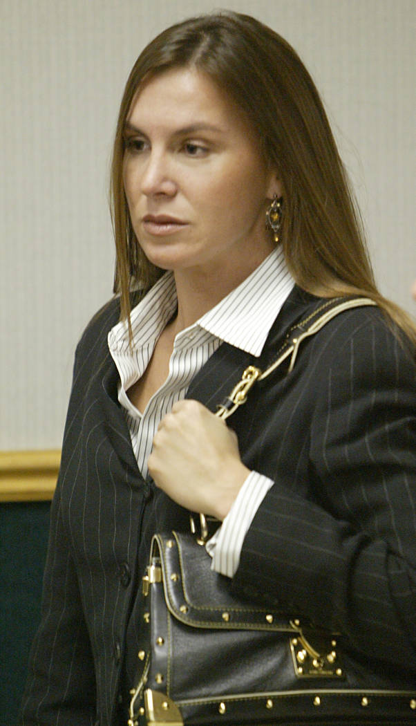 Sandy Murphy leaves court ater a hearing Friday, Aug. 6, 2004, in Clark County District Court in Las Vegas. Defendants Murphy and Rick Tabish won a pretrial victory with a judge's ruling that life ...