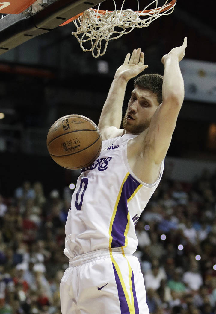ca965c5574f1 Los Angeles Lakers  Sviatoslav Mykhailiuk dunks against the Cleveland  Cavaliers during the second half of
