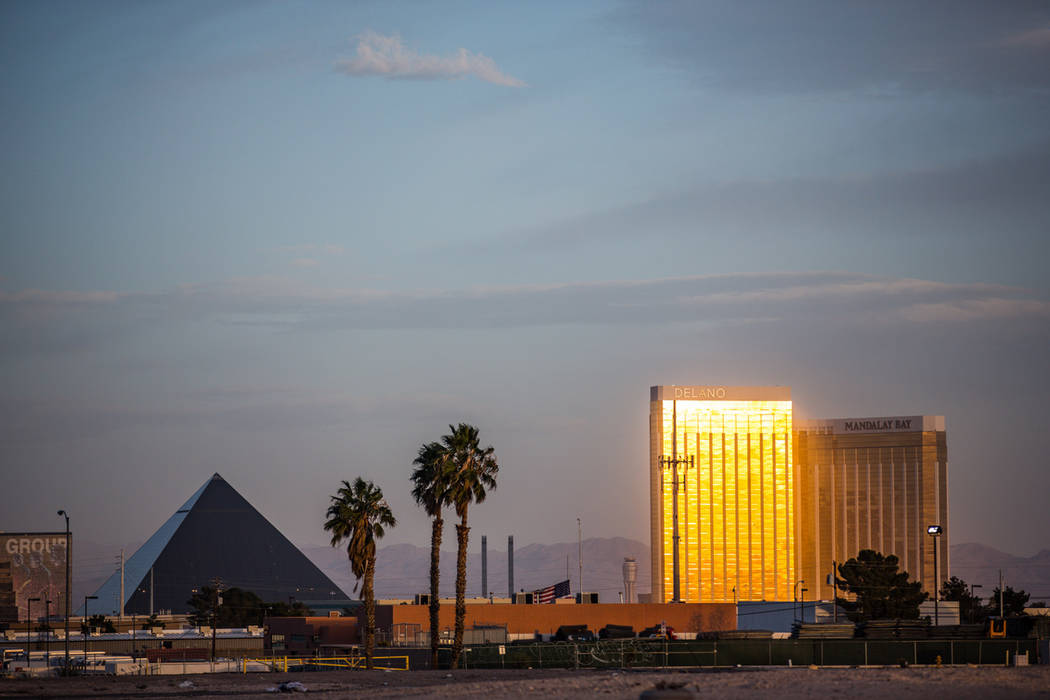 MGM Resorts International properties Mandalay Bay and Luxor as seen on Feb. 28. (Todd Prince/Review-Journal)