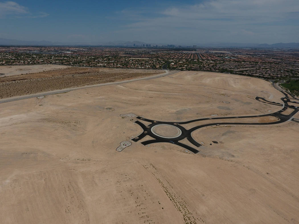 Aerial view of property purchased by homebuilder Toll Brothers will be part of a future development in Summerlin near Mesa Park Drive and Town Center Drive on Tuesday, July 17, 2018. Michael Quine ...