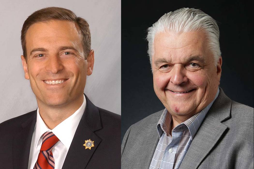 Nevada gubernatorial candidates Adam Laxalt, left, and Steve Sisolak (Las Vegas Review-Journal)