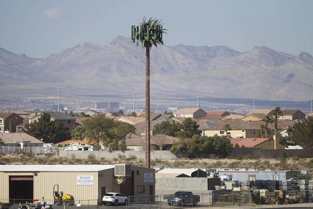 A Verizon cell tower near the intersection of W. Pebble Road and W. Torino Avenue in Las Vegas, Thursday, Feb. 22, 2018. (Erik Verduzco/Las Vegas Review-Journal)