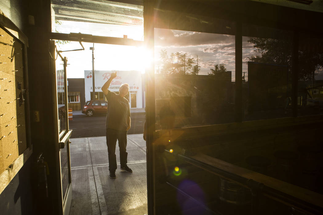 Nevada Taste Site owner Derek Stonebarger looks at the exterior of his newly-opened restaurant and bar on Main Street in downtown Las Vegas' arts district on Thursday, July 19, 2018. Chase Stevens ...