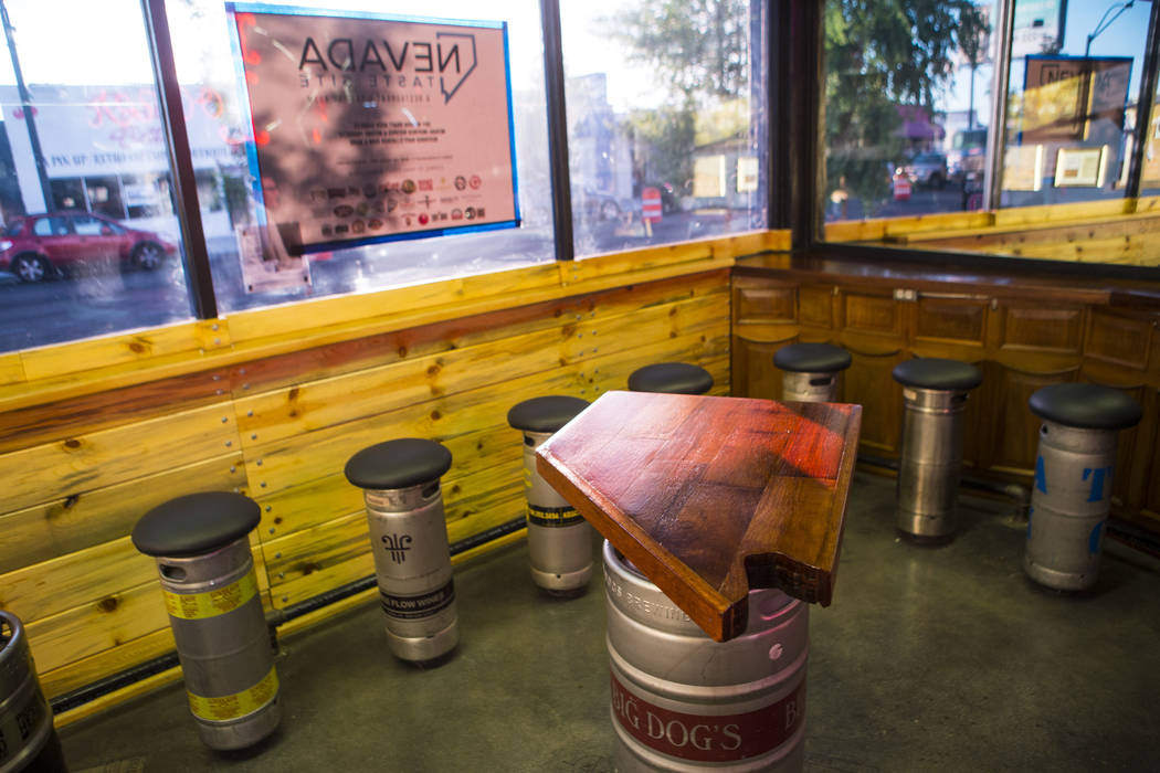 A table shaped like the state of Nevada at Nevada Taste Site on Main Street in downtown Las Vegas' arts district on Thursday, July 19, 2018. Chase Stevens Las Vegas Review-Journal @csstevensphoto