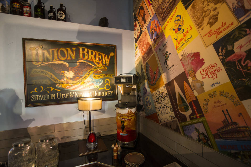 An original sign from Union Brew in Goldfield at Nevada Taste Site on Main Street in downtown Las Vegas' arts district on Thursday, July 19, 2018. Chase Stevens Las Vegas Review-Journal @csstevens ...