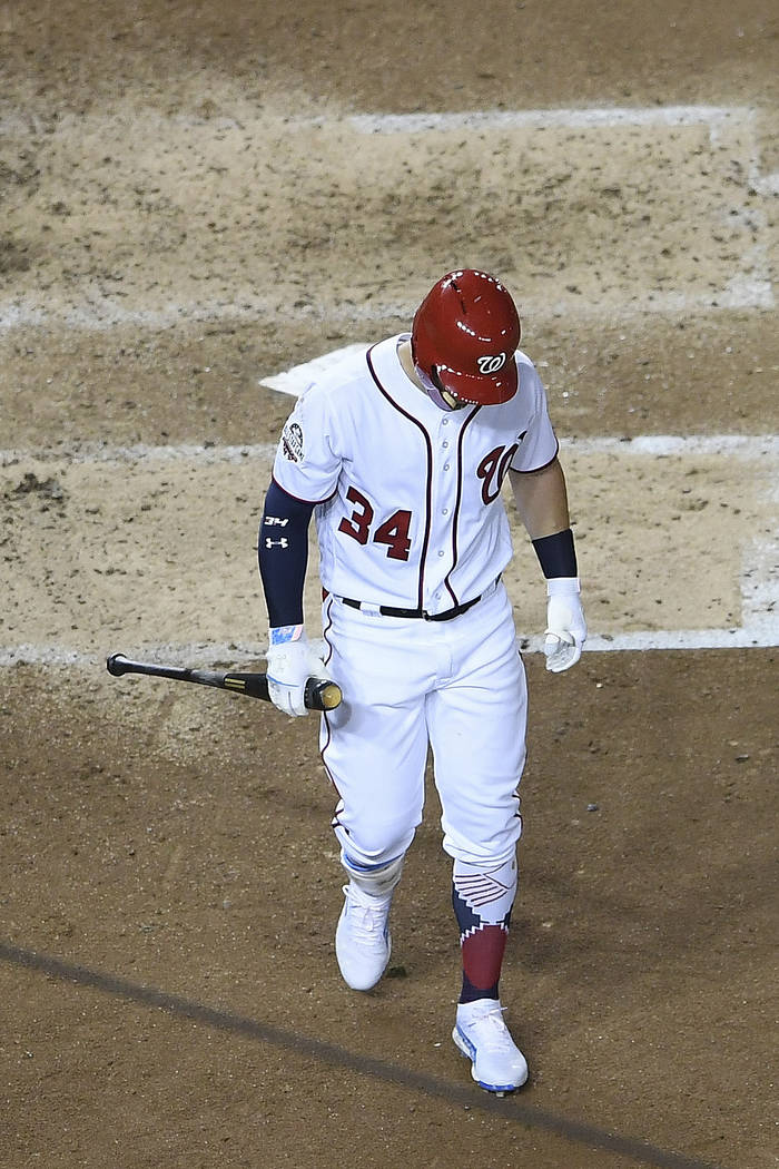 Washington Nationals outfielder Bryce Harper (34) walks out of the batters box after striking out in the fourth inning at the Major League Baseball All-star Game, Tuesday, July 17, 2018 in Washing ...