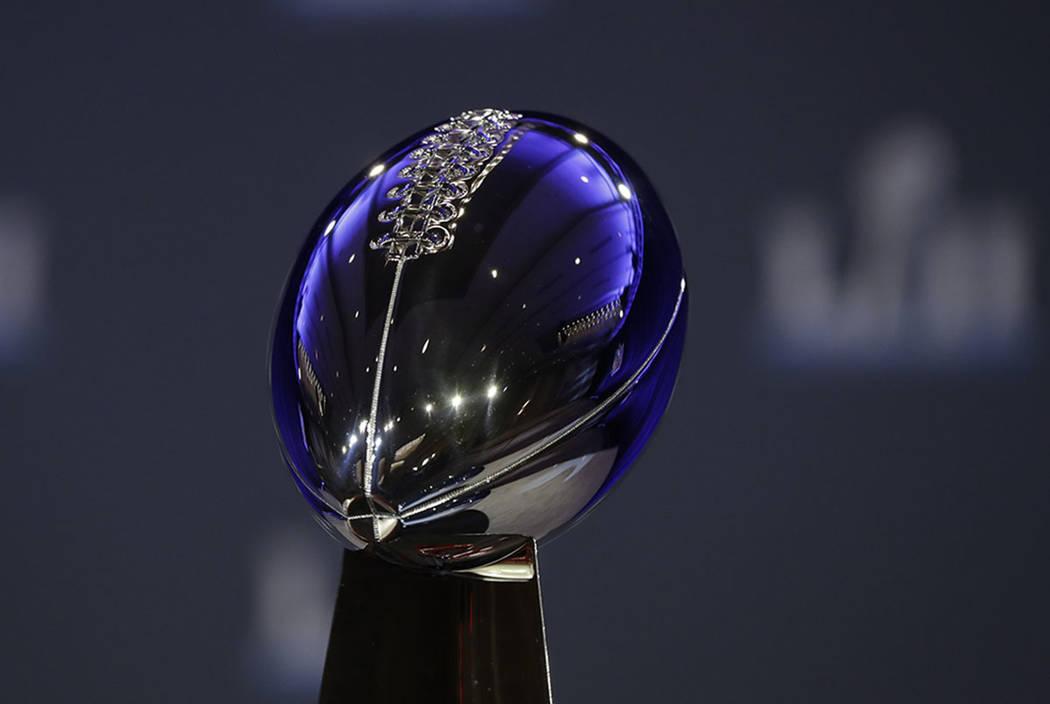 The Vince Lombardi Trophy is seen Wednesday, Jan. 31, 2018, in Minneapolis. (AP Photo/Matt Slocum)