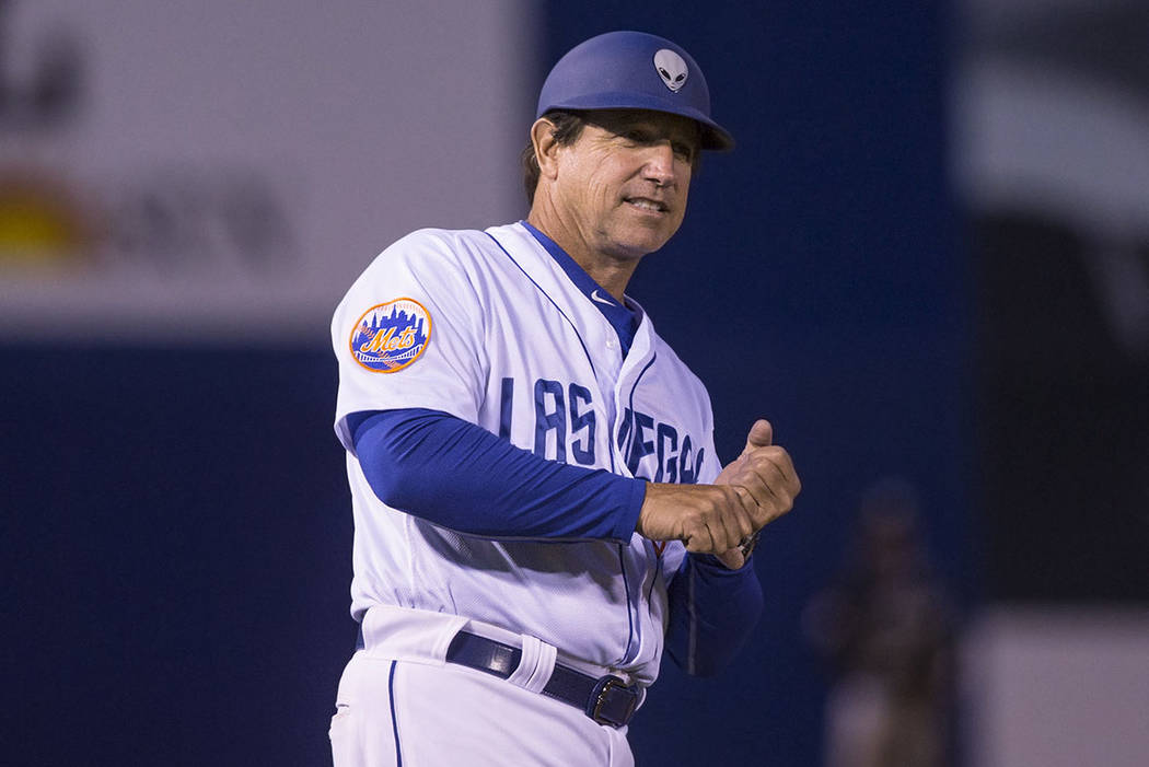 51s manager Tony DeFrancesco signals his batter during Las Vegas' home matchup with the El Paso Chihuahuas on Monday, April 9, 2018, at Cashman Field, in Las Vegas. (Benjamin Hager Las Vegas Revie ...