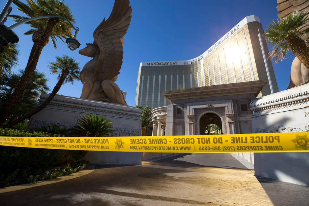 The Mandalay Bay the day after the Route 91 Harvest shooting in Las Vegas on October 2, 2017. (Richard Brian/Las Vegas Review-Journal) @vegasphotograph