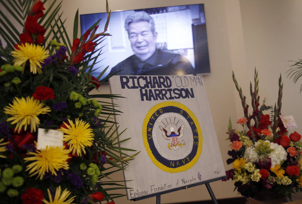 Richard Harrison is shown in the TV show Pawn Stars on the screen at his memorial service at Palm Mortuary in Las Vegas, Sunday, July 1, 2018. Well known as the patriarch in the Pawn Stars TV show ...